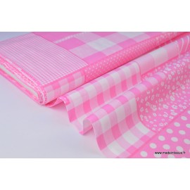 Popeline coton imprimé patchwork rose .x1m