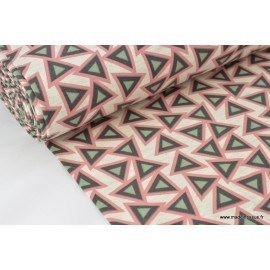 Jersey coton élasthanne imprimé triangles x50cm