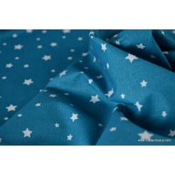 Tissu coton oeko tex imprimé étoiles pétrole