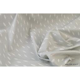 Tissu coton oeko tex imprimé dessin plumes blanches