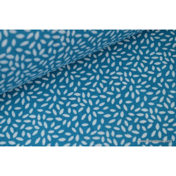 Tissu coton imprimé dessin grains de blé pétrole .x1m