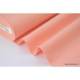 Tissu popeline coton uni tissé teint chambray coloris Corail
