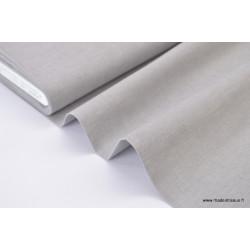 Tissu popeline coton uni tissé teint chambray coloris gris . x1m