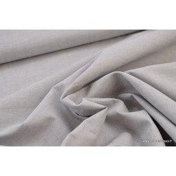 Tissu popeline coton uni tissé teint chambray coloris gris