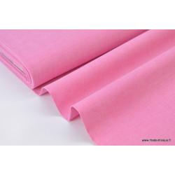 Tissu popeline coton uni tissé teint chambray coloris fuchsia . x1m