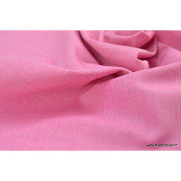 Tissu popeline coton uni tissé teint chambray coloris fuchsia