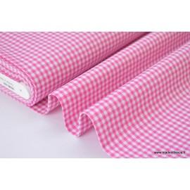 Tissu vichy petits carreaux 100%coton fuchsia x50cm