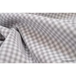 Tissu vichy petits carreaux 100%coton GRIS x50cm
