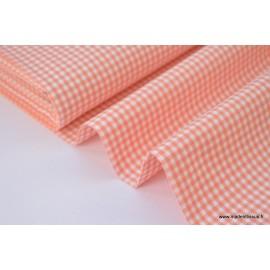 Tissu vichy petits carreaux 100%coton CORAIL x50cm