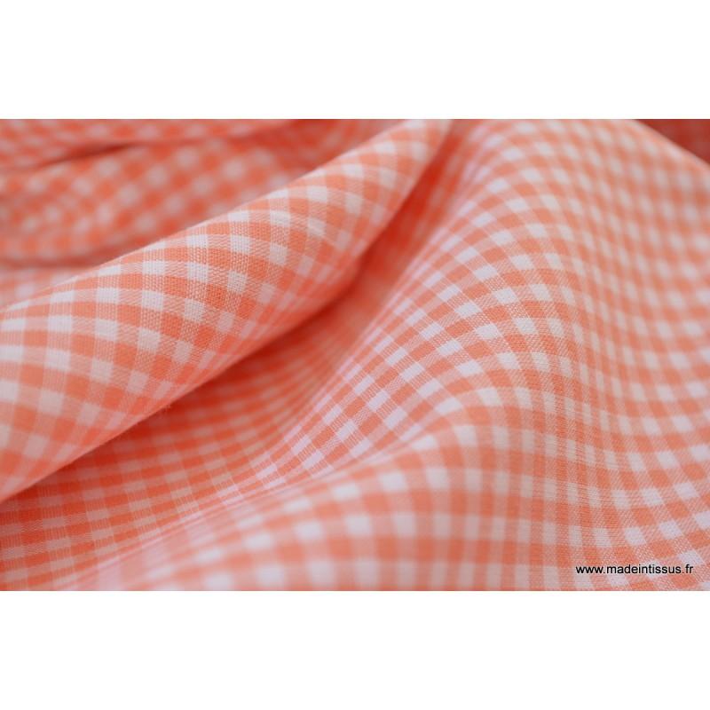 tissu vichy en coton petits carreaux corail With tissus carreaux vichy