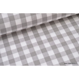 Popeline tissu 100% coton vichy grands carreaux coloris Fuchsia X50 cm