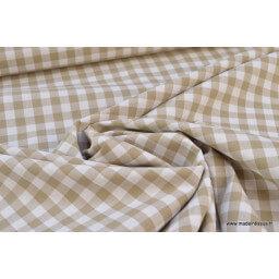 Popeline tissu 100% coton vichy grands carreaux coloris sable X50 cm