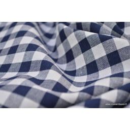 Popeline tissu 100% coton vichy grands carreaux coloris bleu marine X50 cm