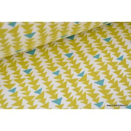 Tissu 100%coton turquoise et moutarde .x1m