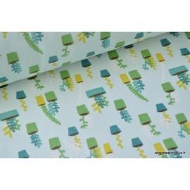 Tissu 100%coton motifs pots  .x1m