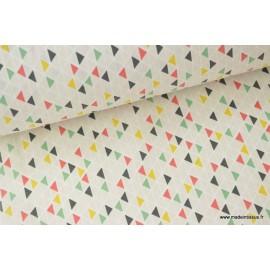 Tissu 100%coton motifs Triangles géométriques .x1m
