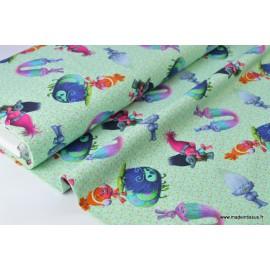 Jersey imprimé enfants LES TROLLS 95%coton 5%ea 150cm 200gr/m²