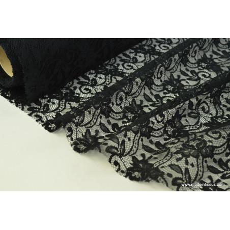 Tissu Dentelle fine noire pour robe de mariée .