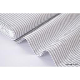 Tissu popeline coton rayures grises et blanches tissé teint X50 CM