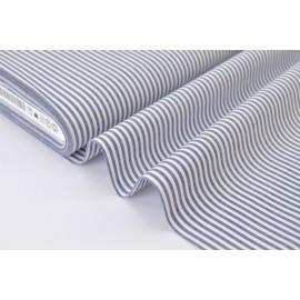 Tissu popeline coton rayures bleu marine et blanches tissé teint .x1m