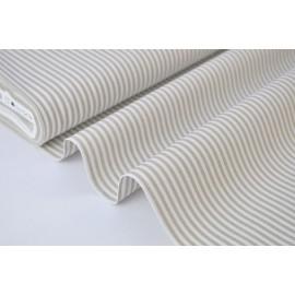 Tissu popeline coton rayures SABLE (beige) et blanches tissé teint .x1m
