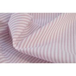 Tissu popeline coton rayures PARME et blanches tissé teint X50 CM