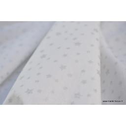 Tissu coton imprimé dessin étoiles argentées sur fond blanc