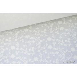 Coton ton sur ton MARGELIE FLEURS blanc sur fond blanc . x1m