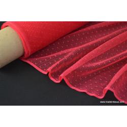 Tissu PLUMETIS DENTELLE LAIZE rouge rosé .