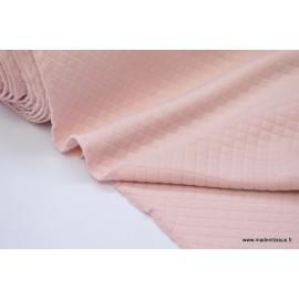 Tissu Jersey coton matelassé 1x1 Rose poudré pour confection habillement .x1m