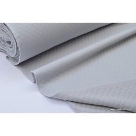 Jersey coton matelassé losange 1x1 Gris pour confection habillement x50cm