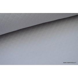 Jersey coton matelassé losange 1x1 Gris pour confection habillement .x1m