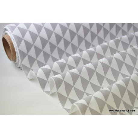 Tissu cretonne coton VINTAGE GRIS par 50cm