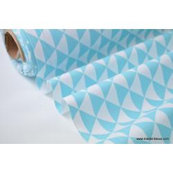 Tissu cretonne coton VINTAGE TURQUOISE .x1m