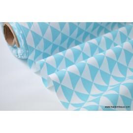 Tissu cretonne coton VINTAGE TURQUOISE par 50cm