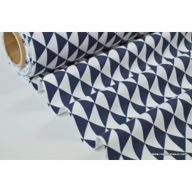 Tissu cretonne coton VINTAGE MARINE par 50cm