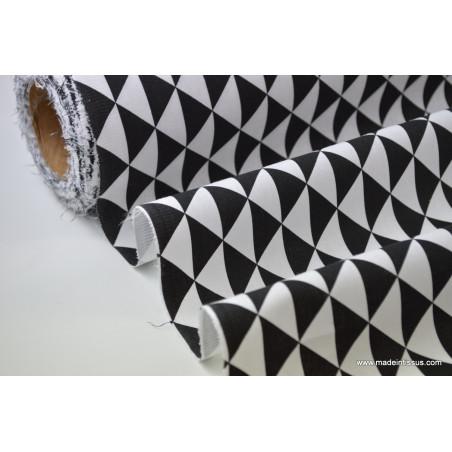 Tissu cretonne coton VINTAGE NOIR .x1m