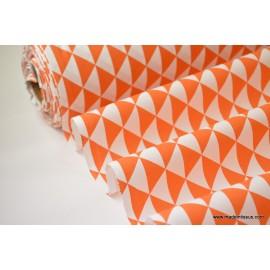 Tissu cretonne coton VINTAGE ORANGE par 50cm