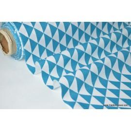 Tissu cretonne coton VINTAGE PETROLE par 50cm