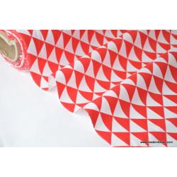 Tissu cretonne coton VINTAGE ROUGE .x1m
