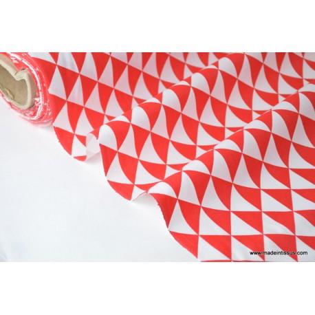 Tissu cretonne coton VINTAGE ROUGE par 50cm