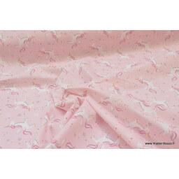 Tissu 100%coton dessin LICORNES ROSES x50cm