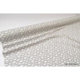 Tissu coton oeko tex imprimé nuages blancs sur fond gris x50cm