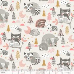 """Tissu Coton imprimé ANIMAUX DE LA FORET  """"Sweet Dreams"""" Rose de Maude Asbury by Blend Fabrics .x1m"""