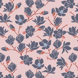 Tissu coton imprimé fleurs magnolia CHARLESTON ART GALLERY designer .x1m