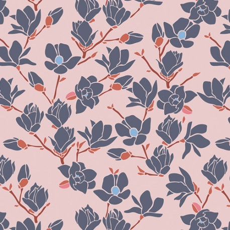 Popeline coton imprimé fleurs magnolia CHARLESTON ART GALLERY designer x25cm