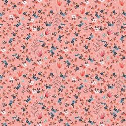 Popeline coton imprimé fleurettes et feuilles CHARLESTON ART GALLERY designer .x1m
