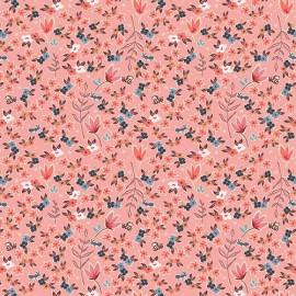 Popeline coton imprimé fleurettes et feuilles CHARLESTON ART GALLERY designer x25cm