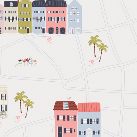 Popeline coton imprimé petites maisons CHARLESTON ART GALLERY designer x25cm