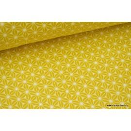 Tissu cretonne coton Jaune imprimé tendance japonaise .x1m